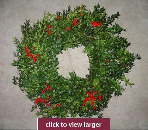 Holly and Boxwood Christmas Wreath