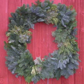 Square Mixed Greens Christmas Wreath